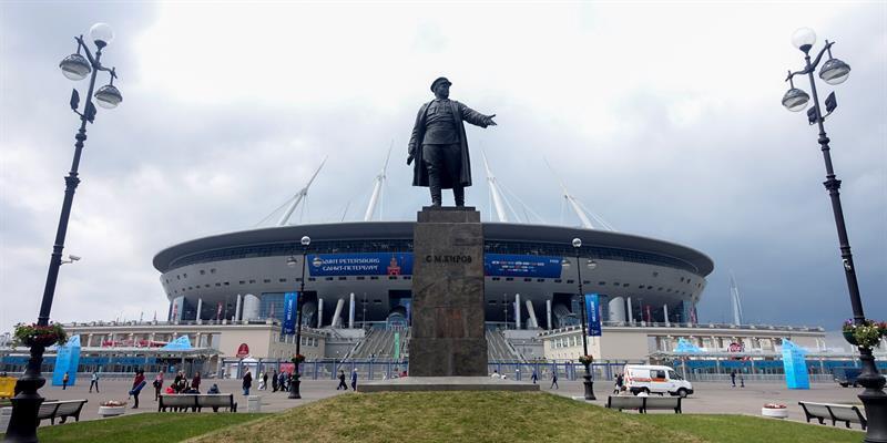 Vista del estadio Krestovski, una de las sedes de la Copa Mundial Rusia 2018.