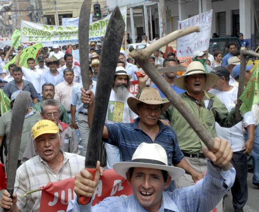 Agricultores marcha en apoyo al gobierno