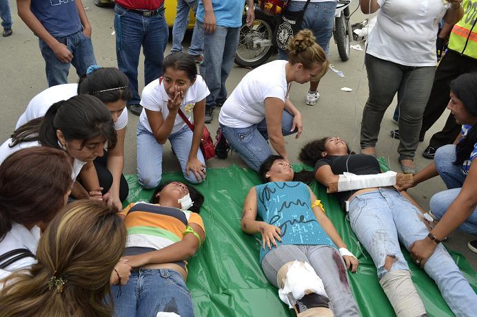 Simulacro de accidente causa alarma en Portoviejo