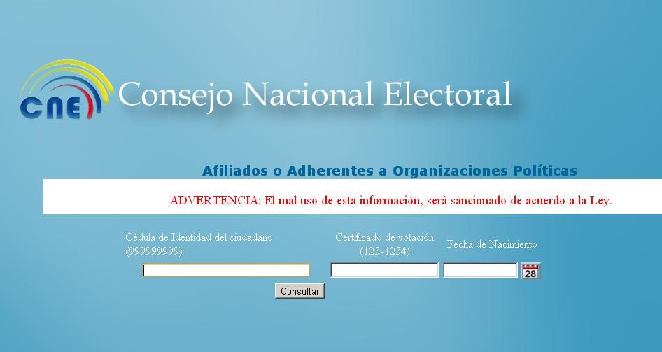 El CNE habilita su servicio de consulta de afiliaciones