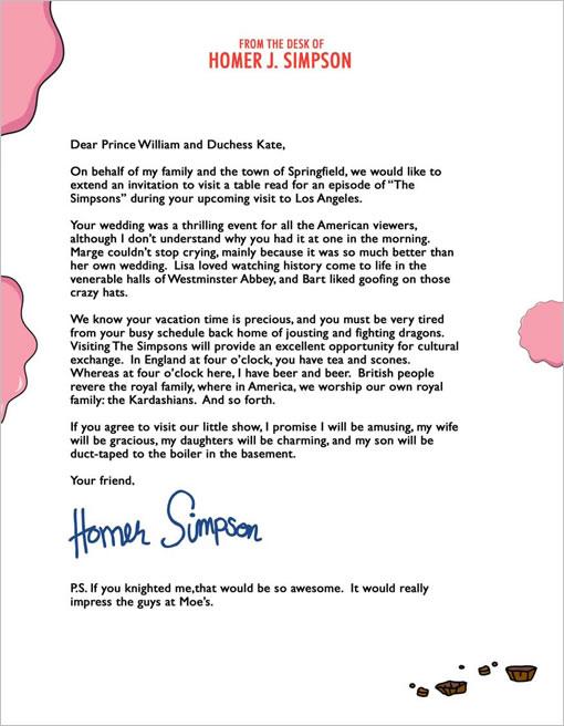 Homero Simpson envió una carta al príncipe Wiliam y Kate Middleton