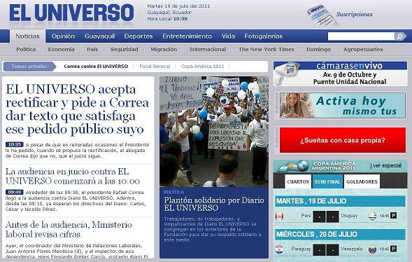 El Universo ofrece rectificación y pide a Correa texto que satisfaga pedido