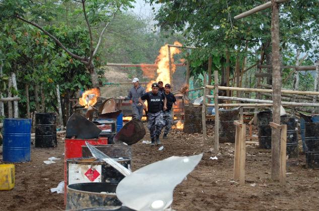 Destruyeron laboratorio de droga localizado en Chone