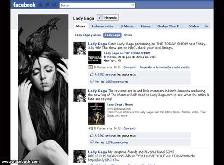 Lady Gaga supera a Obama número de fans en Facebook
