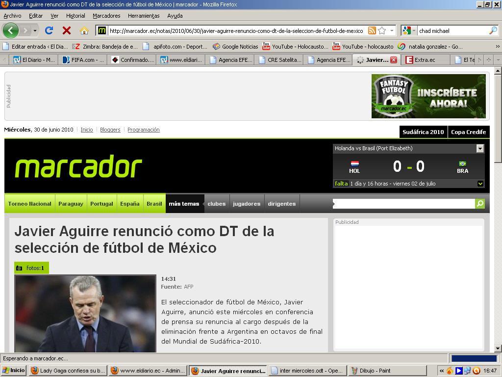 Javier Aguirre renunció como DT de la selección de fútbol de México