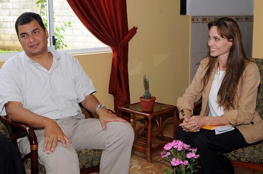 Angelina Jolie se reunió con Correa en el marco del Día del Refugiado