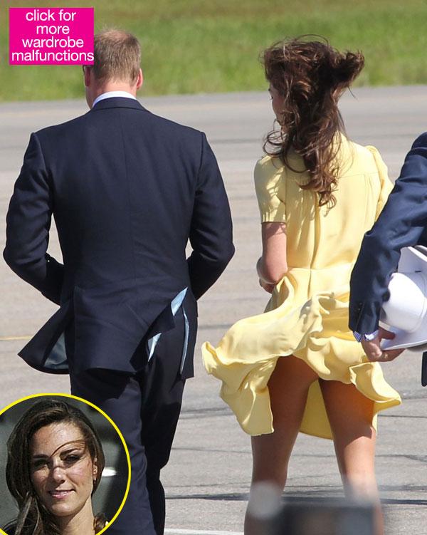 El viento levanta la falda de Kate Middleton