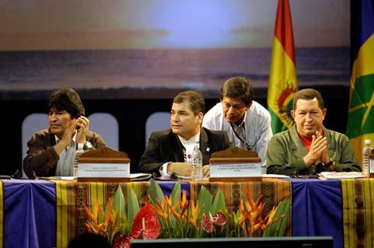 Chávez, Morales y Correa en Cumbre de la ALBA en Otavalo