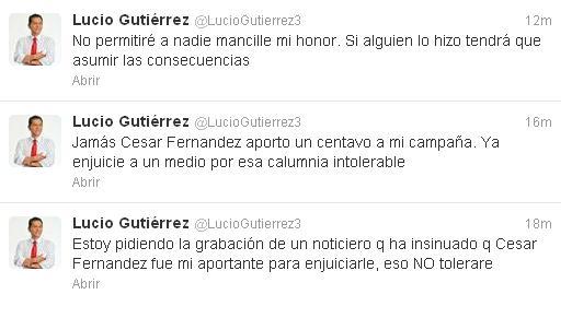 Gutiérrez niega vínculos con César Fernández