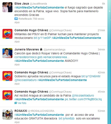 Exposición y mensajes Twitter abren homenaje a Chávez tras mes de su muerte