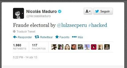 Hackean la cuenta oficial de Twitter de Nicolás Maduro