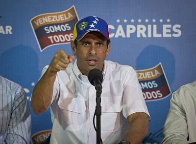 Capriles pide que no se proclame a Maduro y exige el recuento de los votos