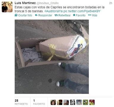 Denuncian hallazgos de cajas con votos para Capriles