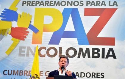 Gobernadores colombianos respaldan a Santos en proceso de paz con las FARC