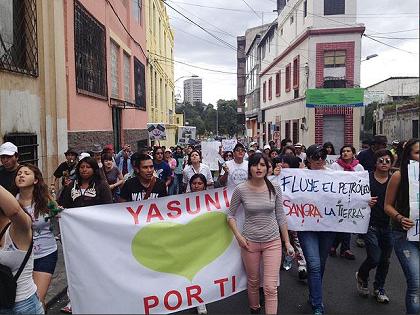 Ambientalistas salieron a protestar por el Yasuní