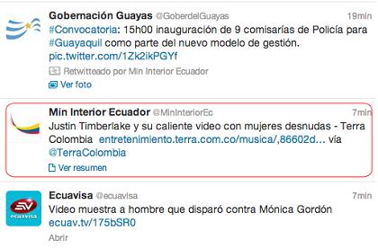 Hackean cuenta de twitter del ministerio del interior el for Twitter ministerio del interior ecuador