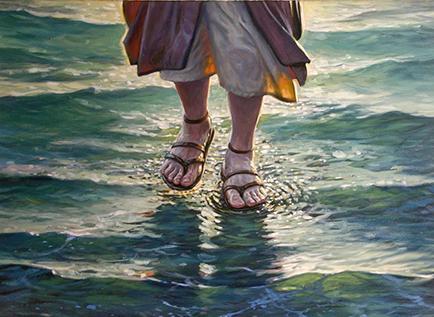 Se ahoga al intentar caminar sobre el  agua como jesús