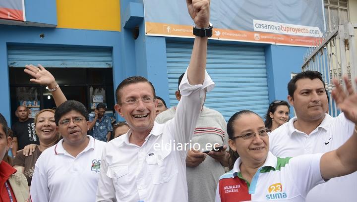 VOTO 2014: Agustín Casanova celebró su virtual triunfo como alcalde de Portoviejo