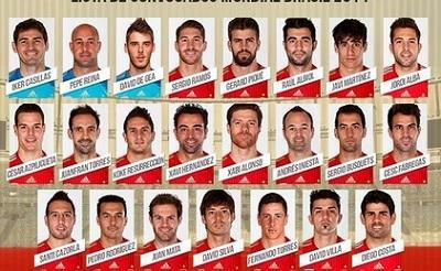 España definió su lista de convocados para el Mundial Brasil 2014