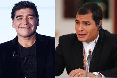 Diego Armando Maradona entrevistará hoy al presidente Rafael Correa