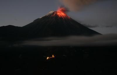 Unas 40 explosiones se registraron en el volcán Tungurahua