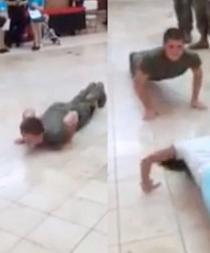 Niña de 10 años vence a un soldado en competencia de flexiones