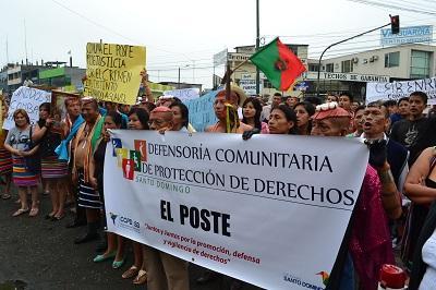 Tsáchilas recorrieron las calles de Santo Domingo como protesta ante la inseguridad