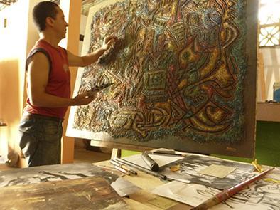 Arte reflejado en lienzo