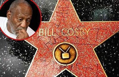 Escriben 'violador' en la estrella del comediante Bill Cosby