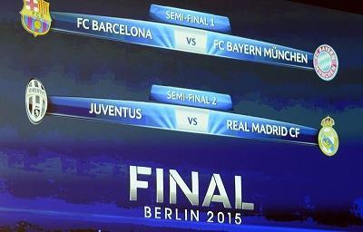 Barcelona-Bayern y Juventus-Real Madrid, semifinales de la Liga de Campeones