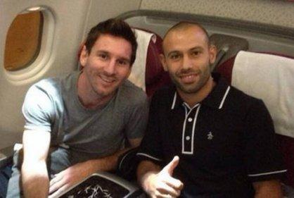 Messi y Mascherano llegan a Chile para preparar la Copa América