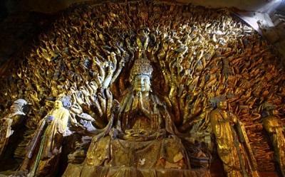 Concluye restauración de famoso buda de las mil manos tras 7 años de trabajos