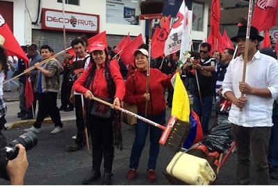 Sindicatos marchan en Quito en rechazo al Gobierno de Rafael Correa