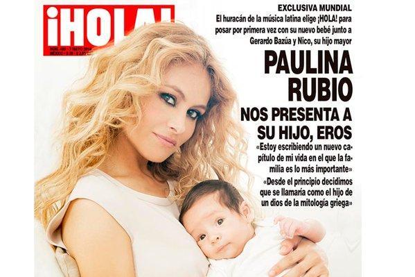 Paulina Rubio posa con su nuevo bebé en portada de la revista ¡Hola!