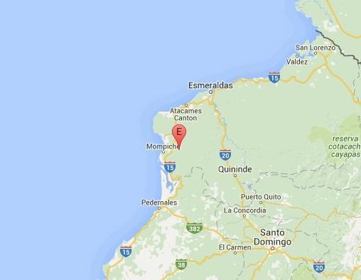Temblor de 4.7 grados se registró en Mompiche esta tarde
