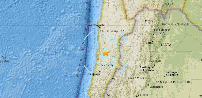 Sismo de 5,5 grados sacude a unas diez ciudades del norte de Chile