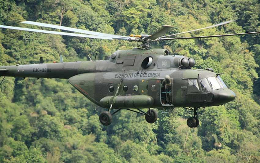 Hallan restos del helicóptero militar que había desaparecido en Colombia