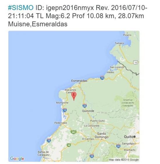 Dos fuertes sismos se registraron esta noche en Esmeraldas