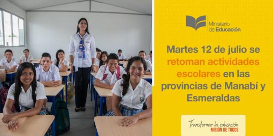 Este martes se retoman las clases en Manabí y Esmeraldas