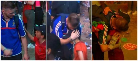 Un niño portugués consuela a un hincha francés tras el final de la Euro