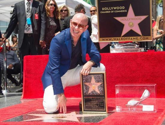 Pitbull recibe su estrella en el Paseo de la Fama en Hollywood