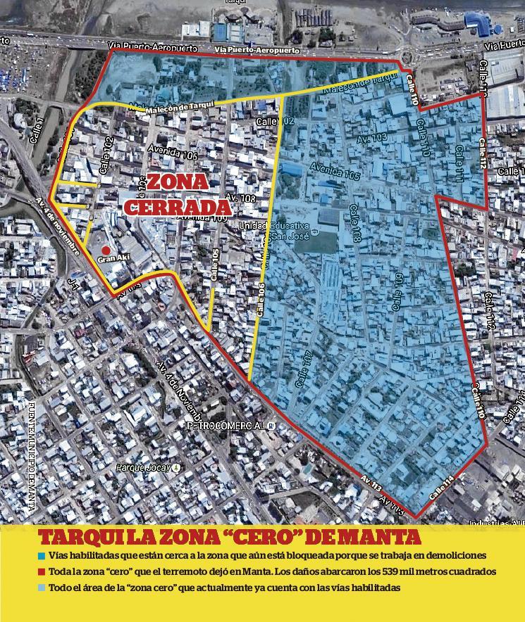 Más de la mitad de vías de la 'zona cero' en Manta están abiertas