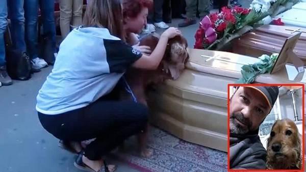 Emotiva despedida de un perro a su amo muerto en el terremoto de Italia