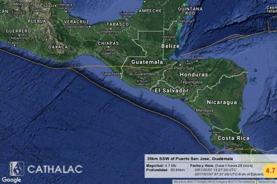 Dos sismos 4,7 y 5 grados sacuden el suroeste de Guatemala