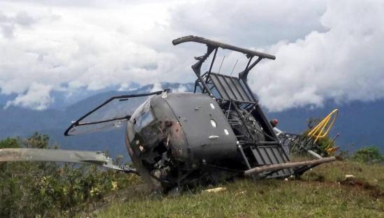 Helicóptero del Ejército ecuatoriano se accidenta en en Morona Santiago