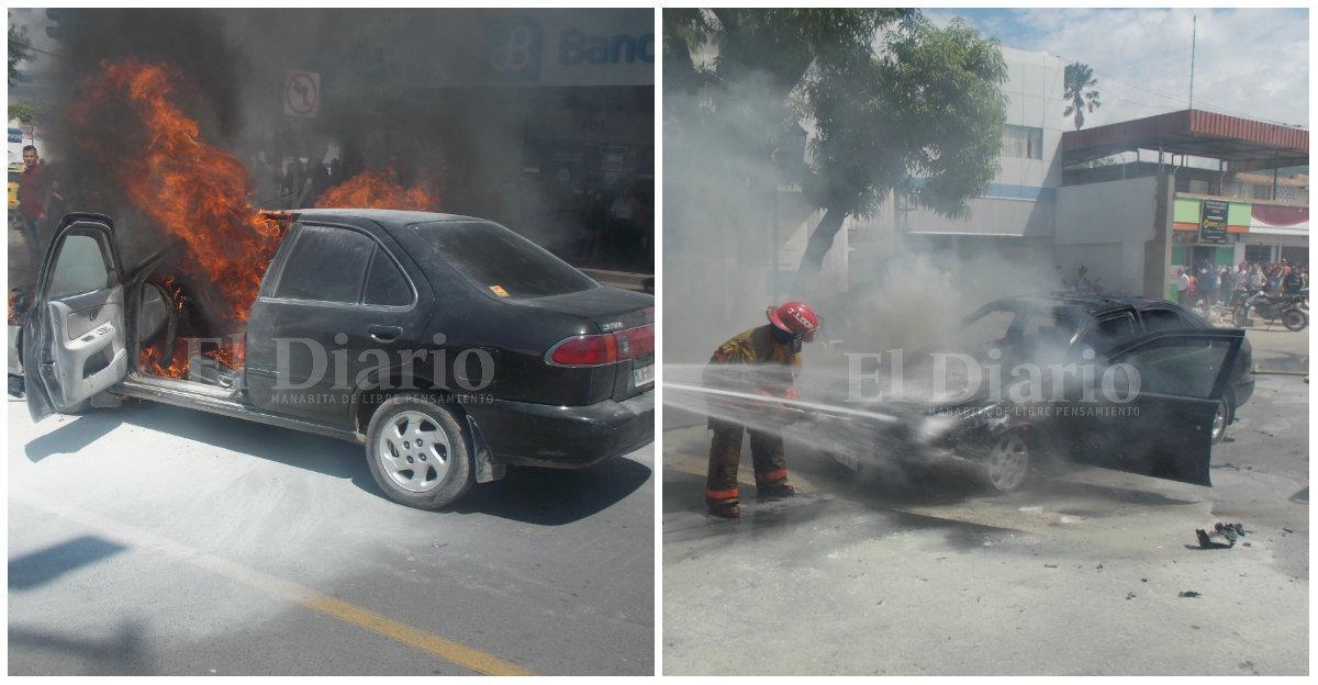 Un auto se incendia en la avenida Manabí y causa alarma