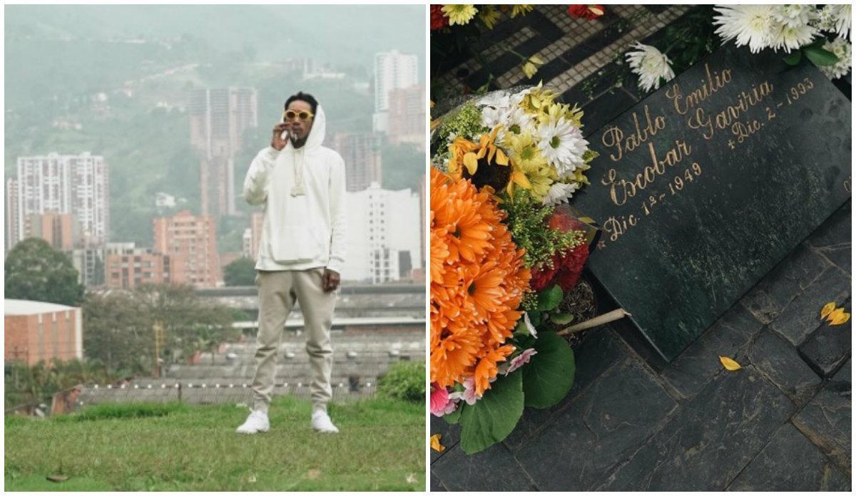 El rapero Wiz Khalifa llevó flores a la tumba de Pablo Escobar y causó indignación