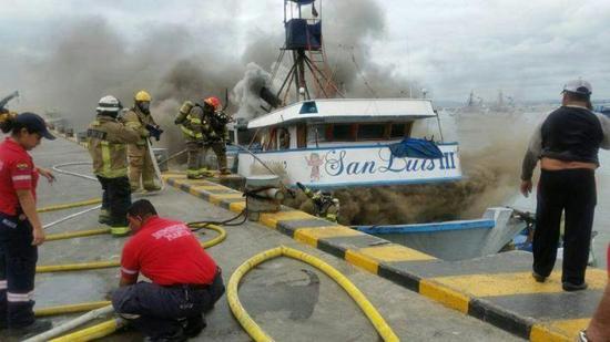 Incendio en un pesquero