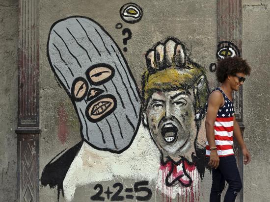 Un grafiti de Trump en la isla