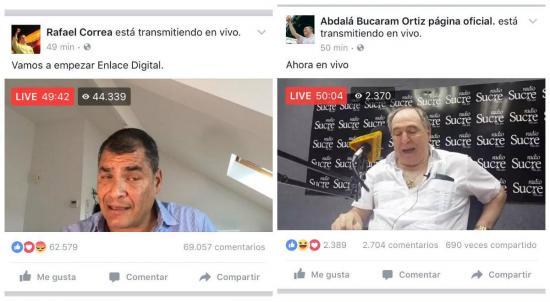 Correa y Bucaram protagonizan enlaces digitales de manera simultánea